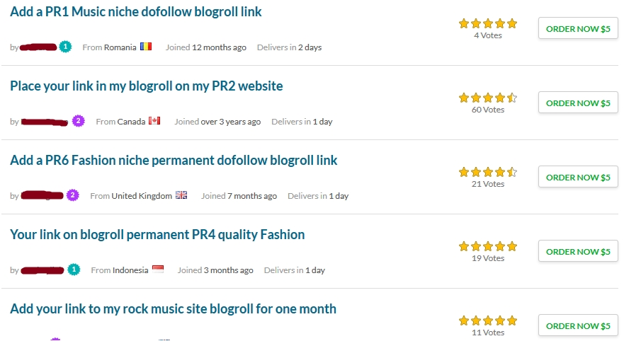example blogroll links from fiverr