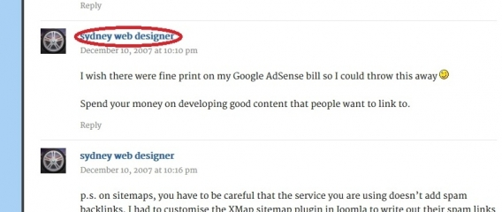 commercial anchor text (money keyword) on a blog comment at mattcutts.com